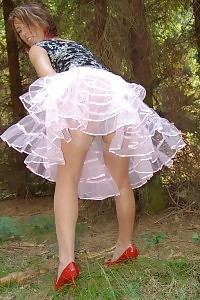 Kelly Dee Uncover Her Wet Dirty Panties As She Strips Outdoor In Tulle Skirt