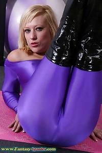 Brenna Is Ready For Some Sensual Strip Tease Wearing Her Sexy Purple Latex Dress