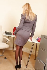 Long Legged Blonde In Black Nylons