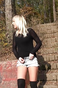 Blonde In Jeans Panty Pissing On A Seat