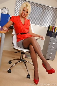 Glorious Blonde Seduces In Her Office Outfit And Red Undie