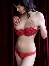 Gia B voluptuously teases off her erotic red panties